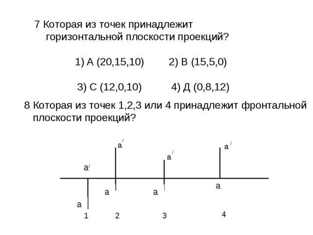 7 Которая из точек принадлежит горизонтальной плоскости проекций? А (20,15,10...