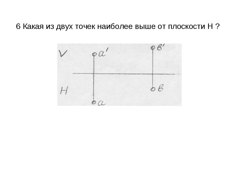 6 Какая из двух точек наиболее выше от плоскости H ?