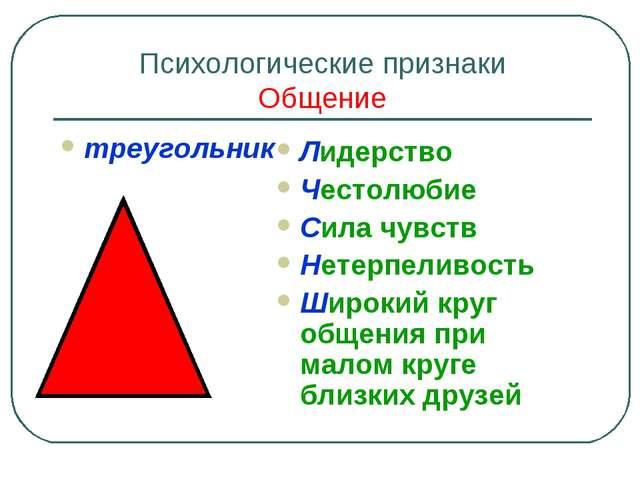 Психологические признаки Общение треугольник Лидерство Честолюбие Сила чувств...