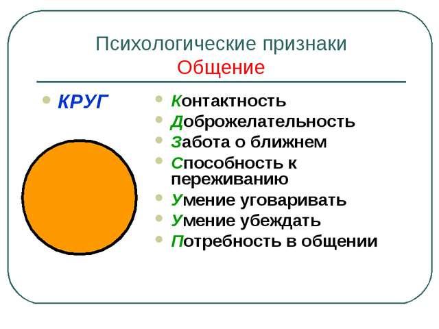 Психологические признаки Общение КРУГ Контактность Доброжелательность Забота...