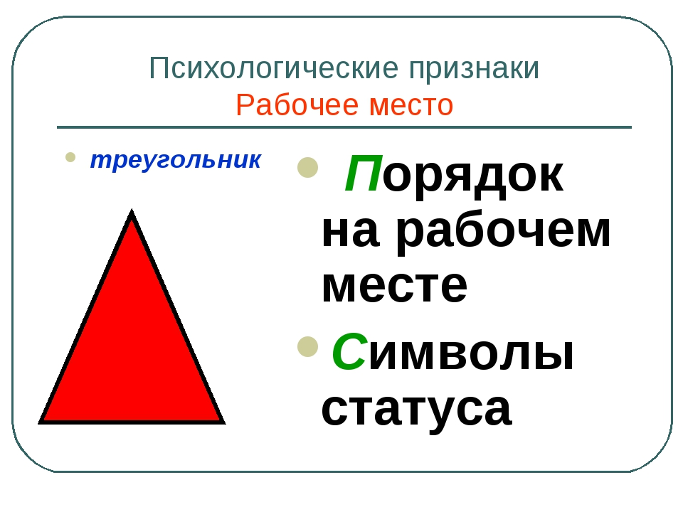 Психологические признаки Рабочее место треугольник Порядок на рабочем месте С...
