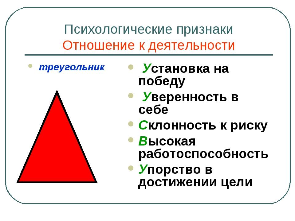 Психологические признаки Отношение к деятельности треугольник Установка на по...