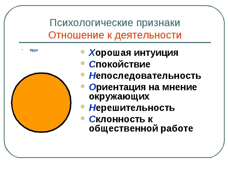 Психологические признаки Отношение к деятельности Круг Хорошая интуиция Споко...