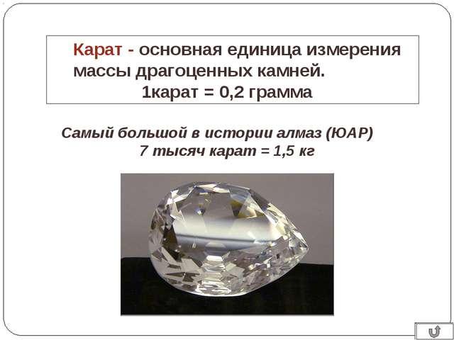 Карат - основная единица измерения массы драгоценных камней. 1карат = 0,2 гра...