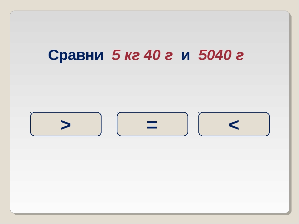 Сравни 5 кг 40 г и 5040 г = < >