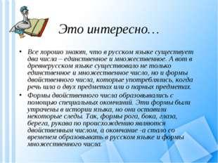 Это интересно… Все хорошо знают, что в русском языке существует два числа – е
