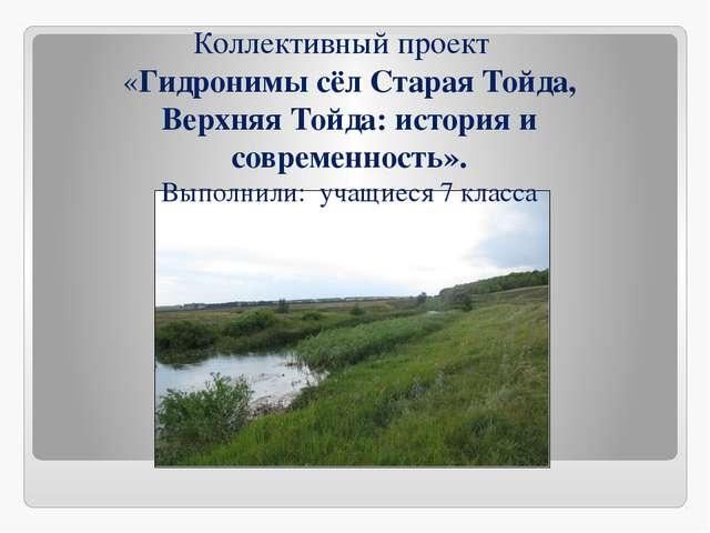Коллективный проект «Гидронимы сёл Старая Тойда, Верхняя Тойда: история и со...
