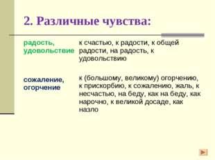 2. Различные чувства: радость, удовольствие сожаление, огорчениек счастью, к
