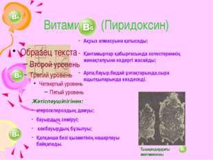 Витамин (Пиридоксин) Ақуыз алмасуына қатысады; Қантамырлар қабырғасында холес