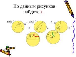 По данным рисунков найдите х. Х 1) 152 80 2) 125 Х 30 215 20 Х 2) 3) • • • 30
