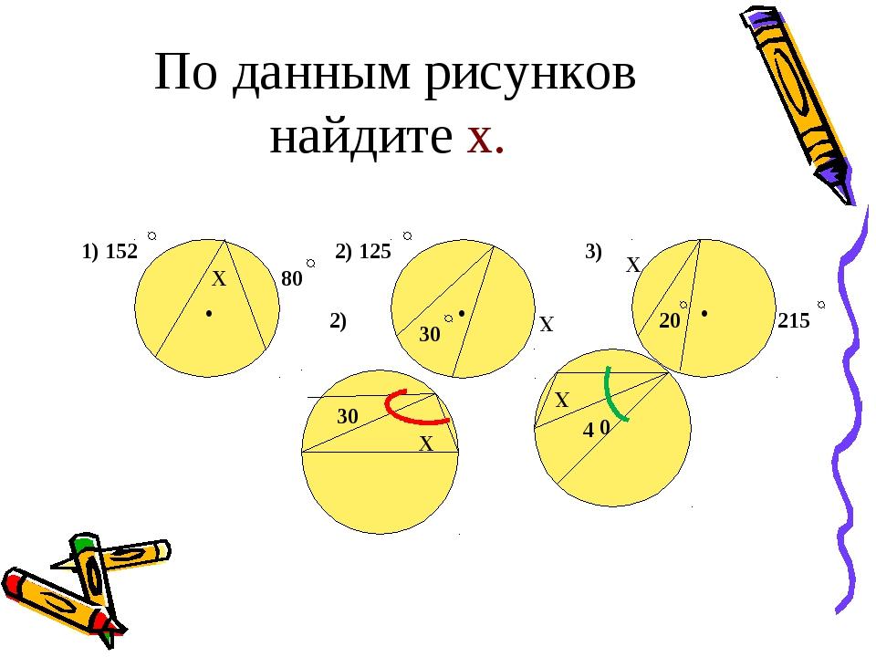 По данным рисунков найдите х. Х 1) 152 80 2) 125 Х 30 215 20 Х 2) 3) • • • 30...
