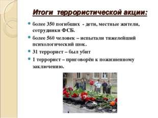 Итоги террористической акции: более 350 погибших - дети, местные жители, сотр