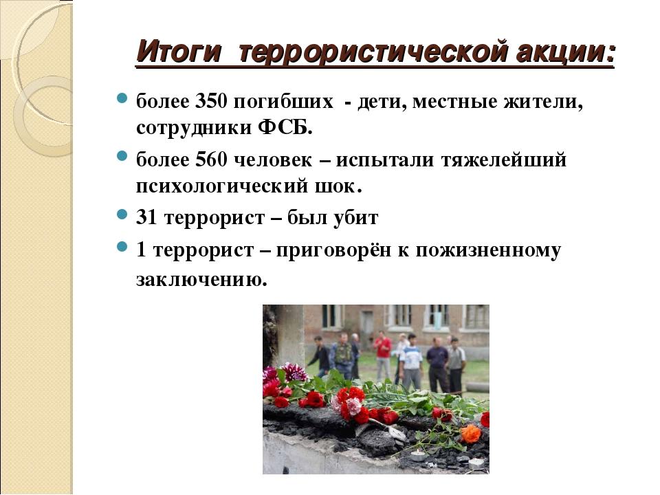 Итоги террористической акции: более 350 погибших - дети, местные жители, сотр...