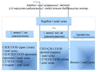 Карбон қышқылдарының жіктелуі: 1.Көмірсутек радикалының табиғатына байланысты