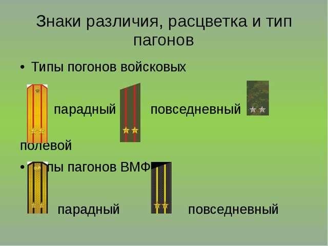 Знаки различия, расцветка и тип пагонов Типы погонов войсковых парадный повсе...