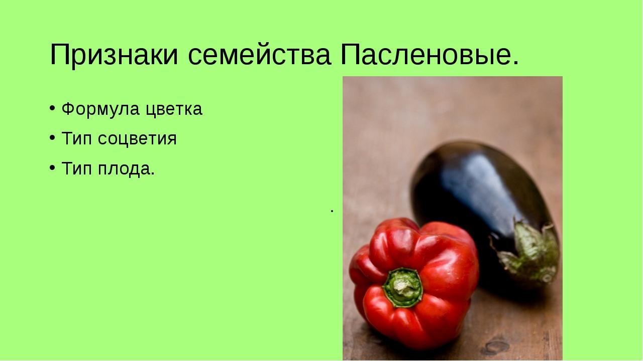 Признаки семейства Пасленовые. Формула цветка Тип соцветия Тип плода. П_м___р...