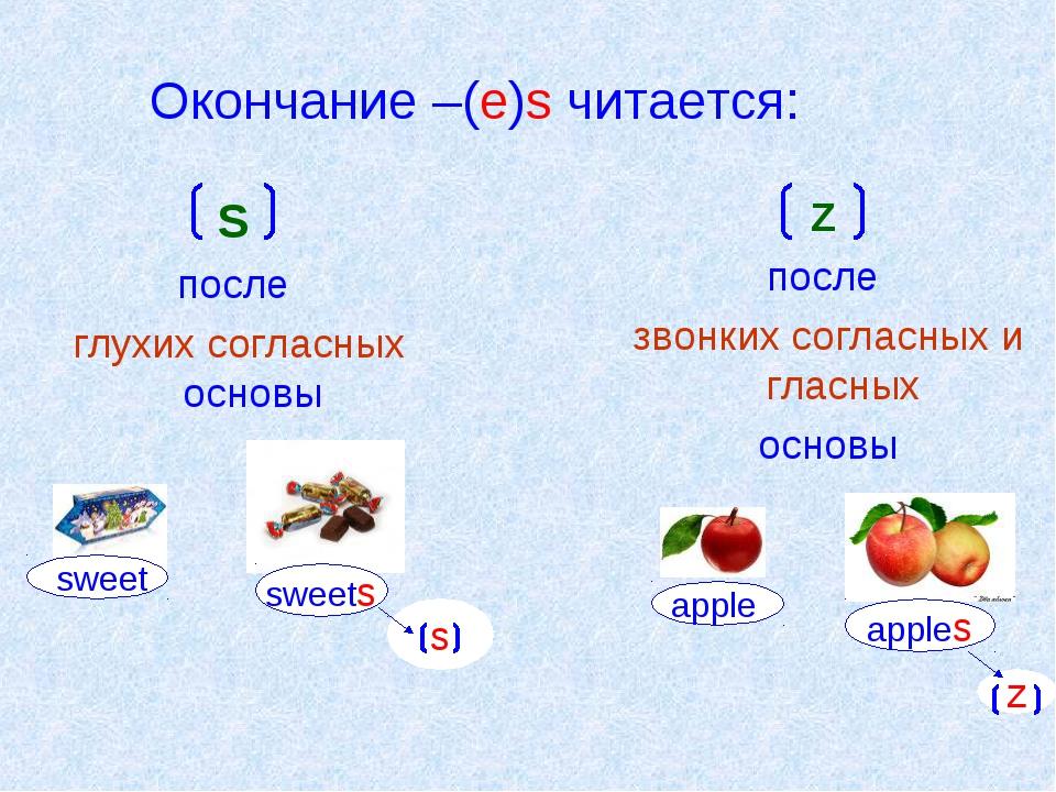 Окончание –(e)s читается: S после глухих согласных основы Z после звонких сог...