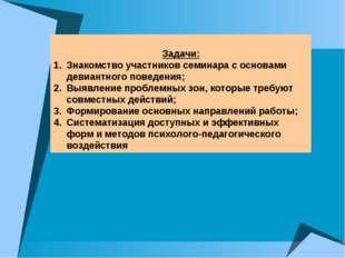 Задачи: Знакомство участников семинара с основами девиантного поведения; Выя