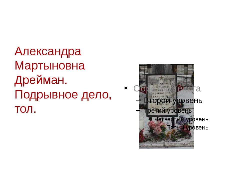 Александра Мартыновна Дрейман. Подрывное дело, тол.