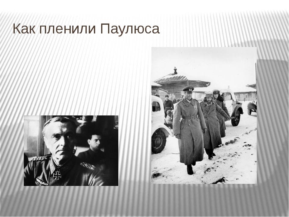 Как пленили Паулюса Это фашистские великие полководцы.