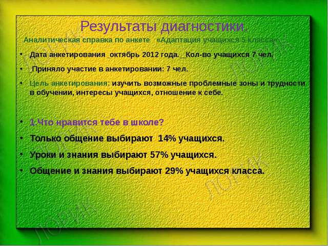 Результаты диагностики. Аналитическая справка по анкете «Адаптация учащихся 5...