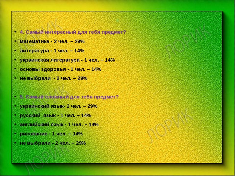 * 4. Самый интересный для тебя предмет? математика - 2 чел. – 29% литература...