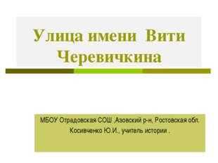 Улица имени Вити Черевичкина МБОУ Отрадовская СОШ ,Азовский р-н, Ростовская о
