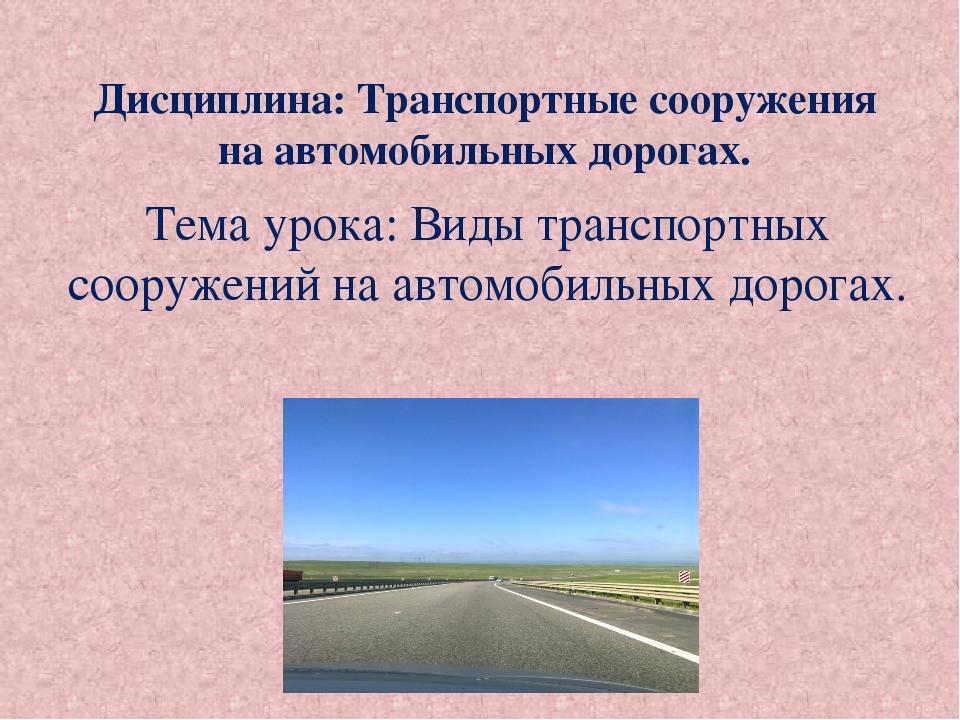 Дисциплина: Транспортные сооружения на автомобильных дорогах. Тема урока: Вид...