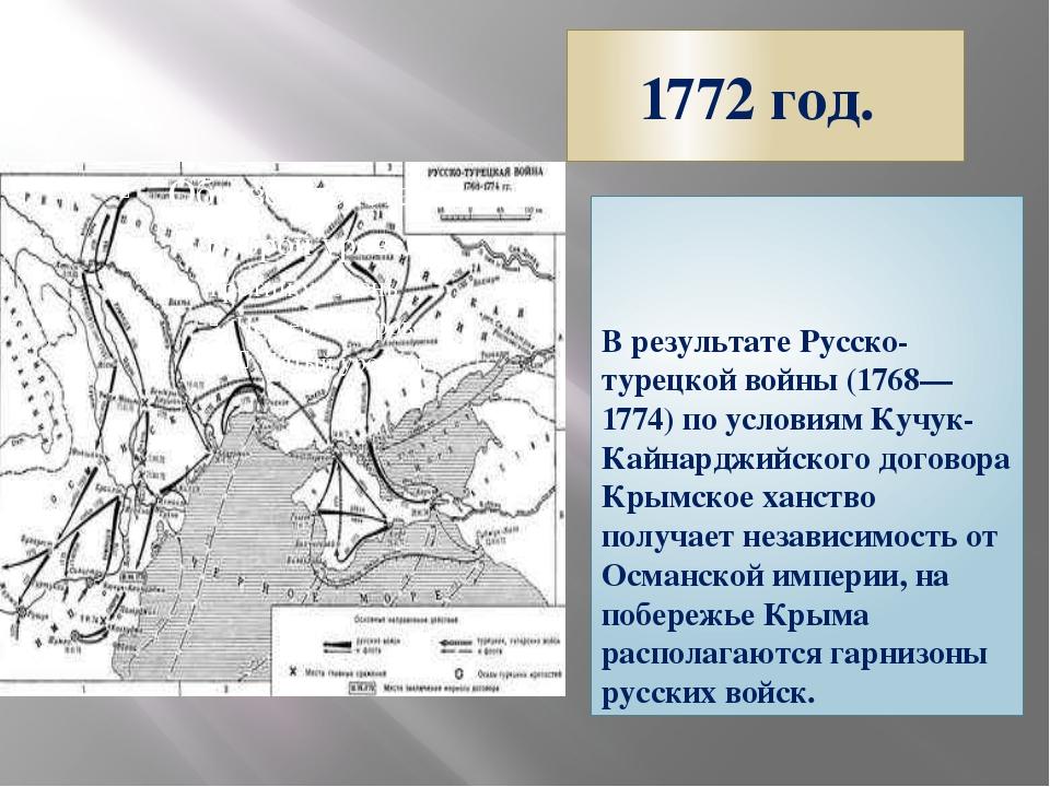 1772 год. В результате Русско-турецкой войны (1768—1774) по условиям Кучук-Ка...