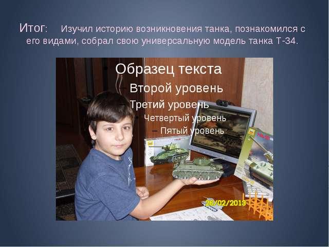 Итог: Изучил историю возникновения танка, познакомился с его видами, собрал с...
