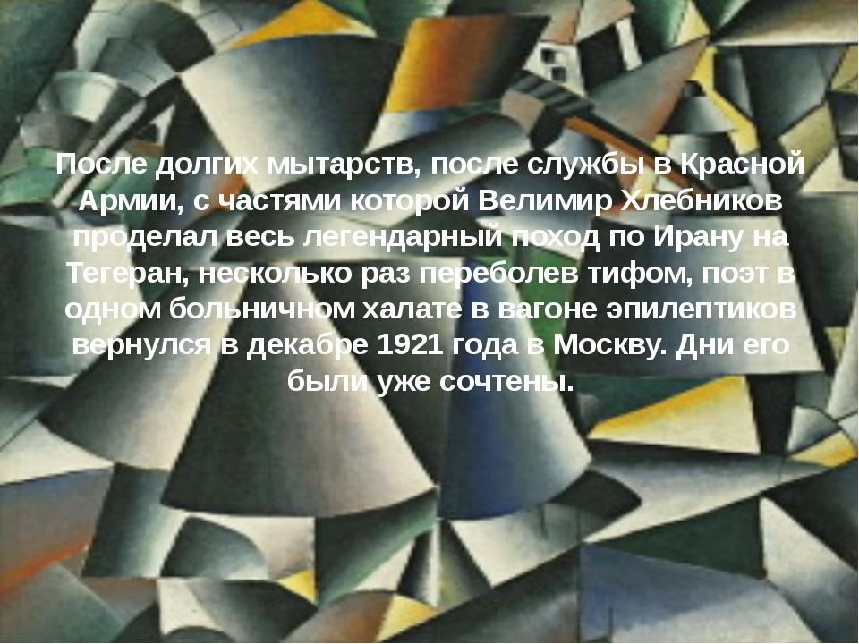 После долгих мытарств, после службы в Красной Армии, с частями которой Велими...