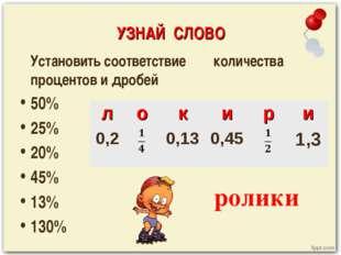 УЗНАЙ СЛОВО Установить соответствие количества процентов и дробей 50% 25% 20%