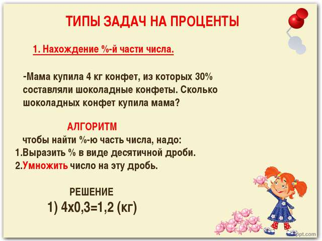 1. Нахождение %-й части числа. -Мама купила 4 кг конфет, из которых 30% сост...