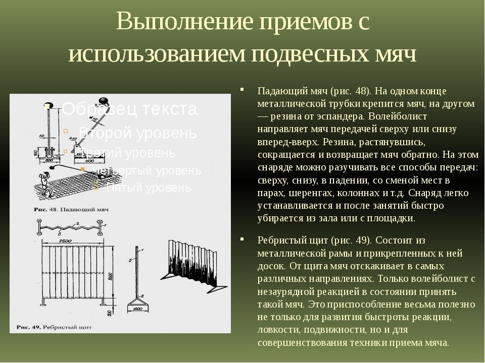 Выполнение приемов с использованием подвесных мяч Падающий мяч (рис. 48). На...