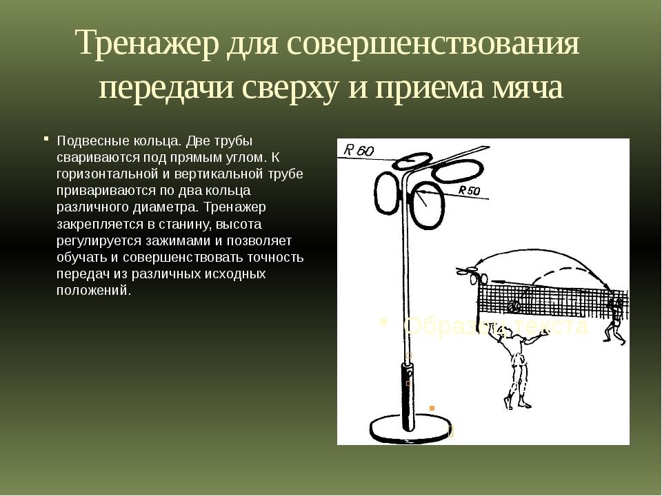 Тренажер для совершенствования передачи сверху и приема мяча Подвесные кольца...