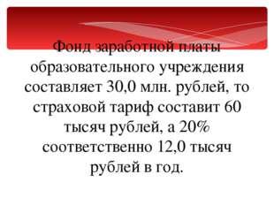 Фонд заработной платы образовательного учреждения составляет 30,0млн. рублей