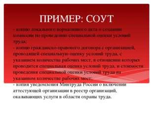 - копию локального нормативного акта о создании комиссии по проведению специа