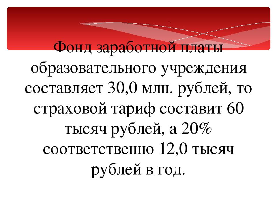 Фонд заработной платы образовательного учреждения составляет 30,0млн. рублей...