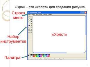 * Экран – это «холст» для создания рисунка Набор инструментов Палитра «Холст»