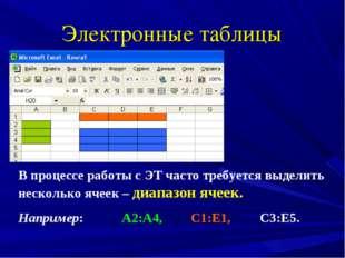 Электронные таблицы В процессе работы с ЭТ часто требуется выделить несколько