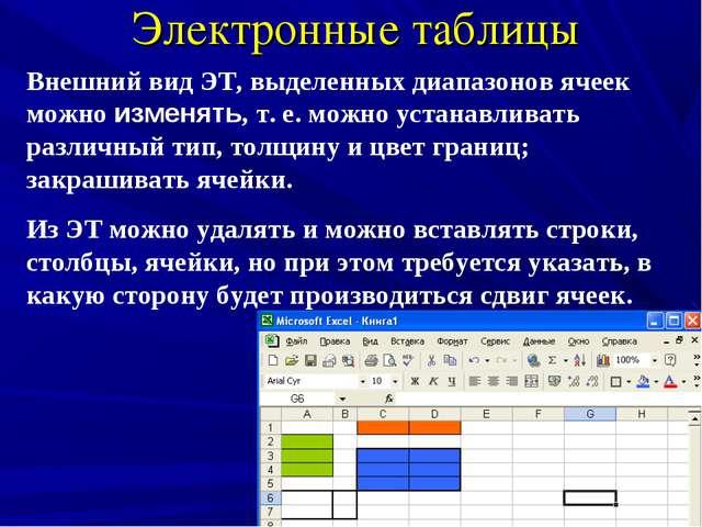 Электронные таблицы Внешний вид ЭТ, выделенных диапазонов ячеек можно изменят...