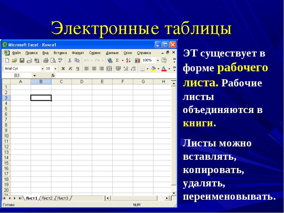 Электронные таблицы ЭТ существует в форме рабочего листа. Рабочие листы объед...