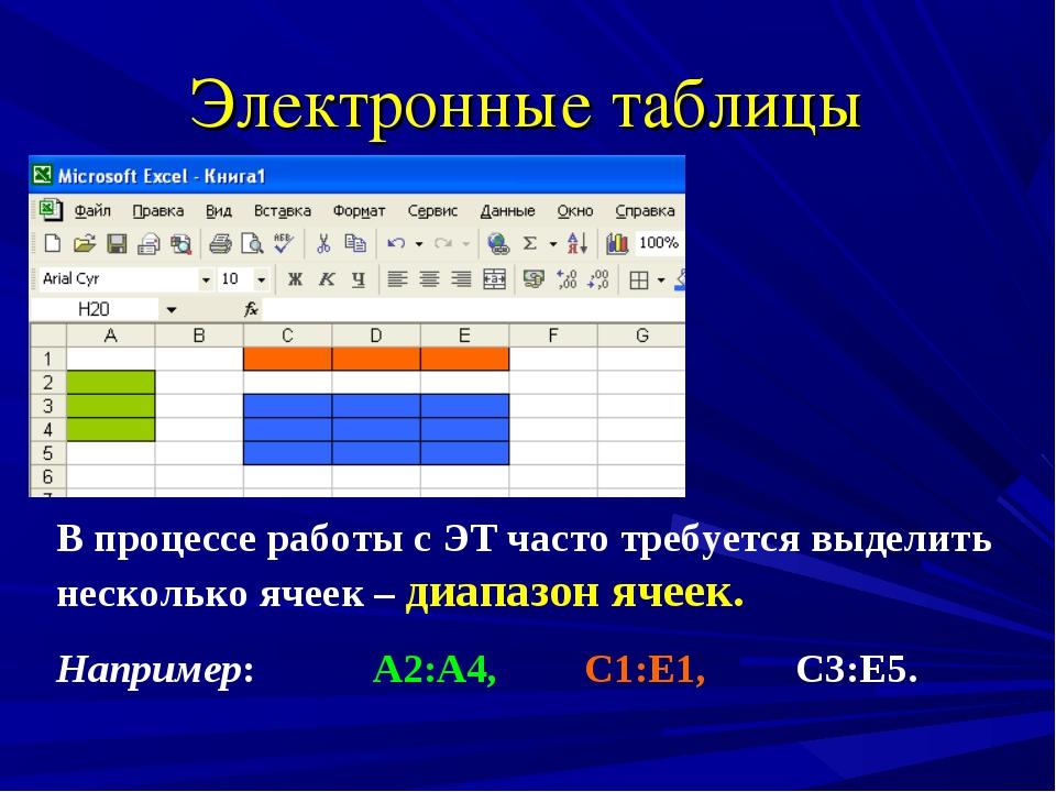 Электронные таблицы В процессе работы с ЭТ часто требуется выделить несколько...