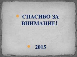 СПАСИБО ЗА ВНИМАНИЕ! 2015