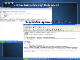 Текстовый редактор «Блокнот» Текстовый процессор «WordPad»