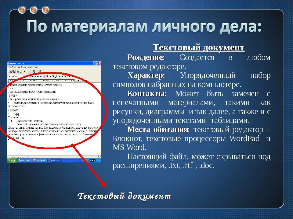 Текстовый документ Рождение: Создается в любом текстовом редакторе. Характер:...