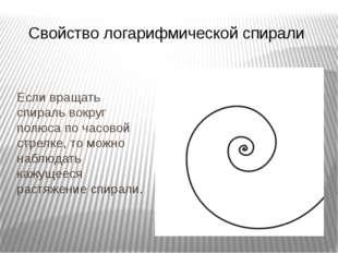 Свойство логарифмической спирали Если вращать спираль вокруг полюса по часов