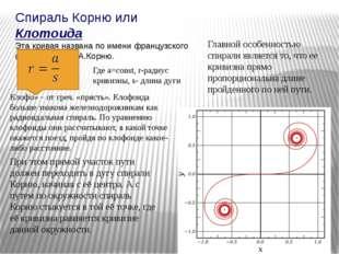 Спираль Корню или Клотоида Эта кривая названа по имени французского физика 19