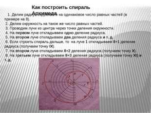 1. Делим радиус окружности на одинаковое число равных частей (в примере на