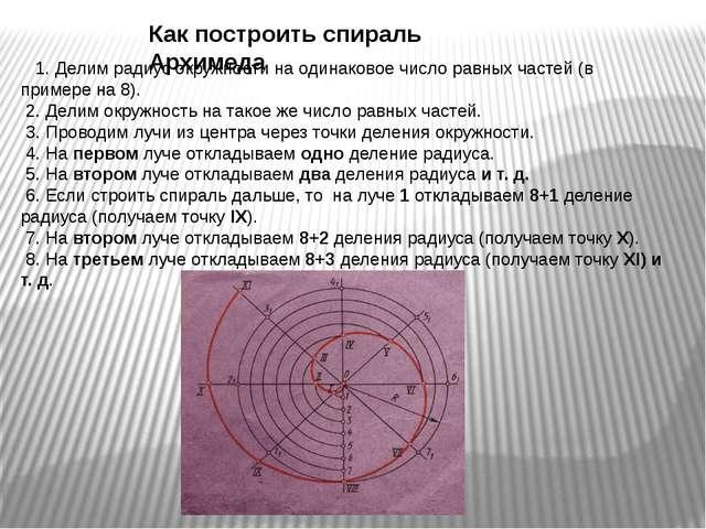 1. Делим радиус окружности на одинаковое число равных частей (в примере на...